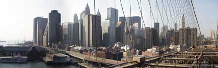 View of Lower Manhattan from the Brooklyn Bridge.